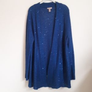 White stag blue metalic knit cardigan
